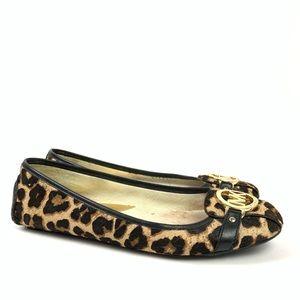 Michael Kors leopard print calf hair ballet  flats